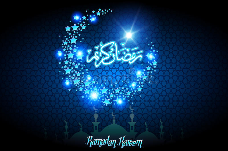 Ramadan Kareem-groetkaart met halve maan en ster, blauwe kleuren vectorillustratie vector illustratie