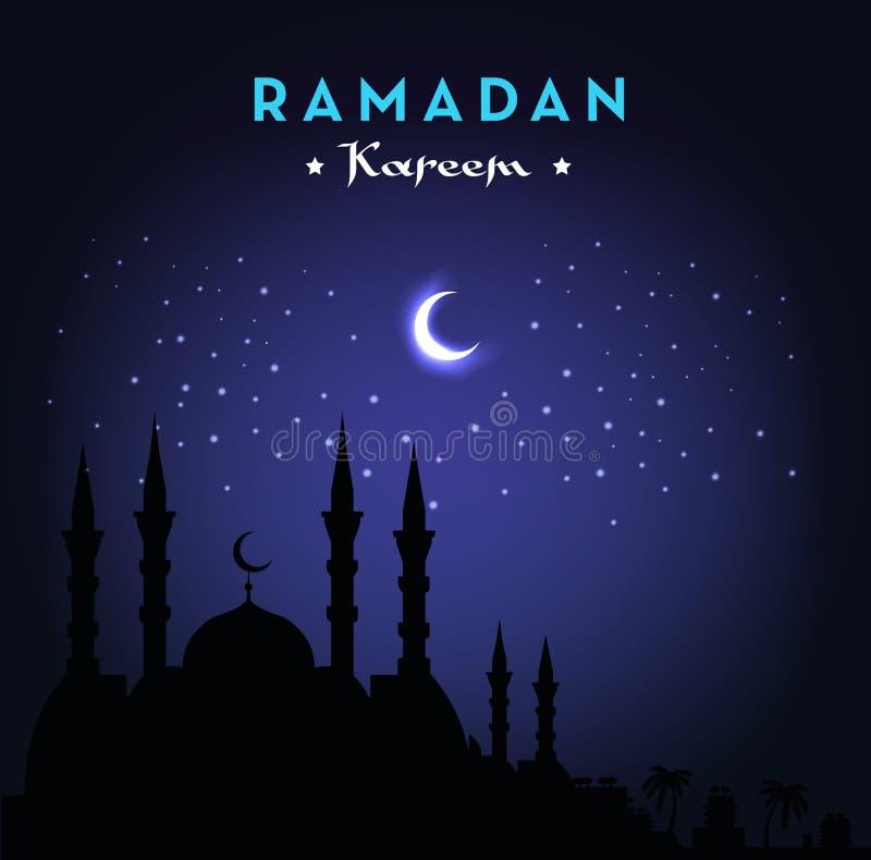 Ramadan Kareem-groetkaart met moskee en nachthemel Maan en Sterren Vector illustratie