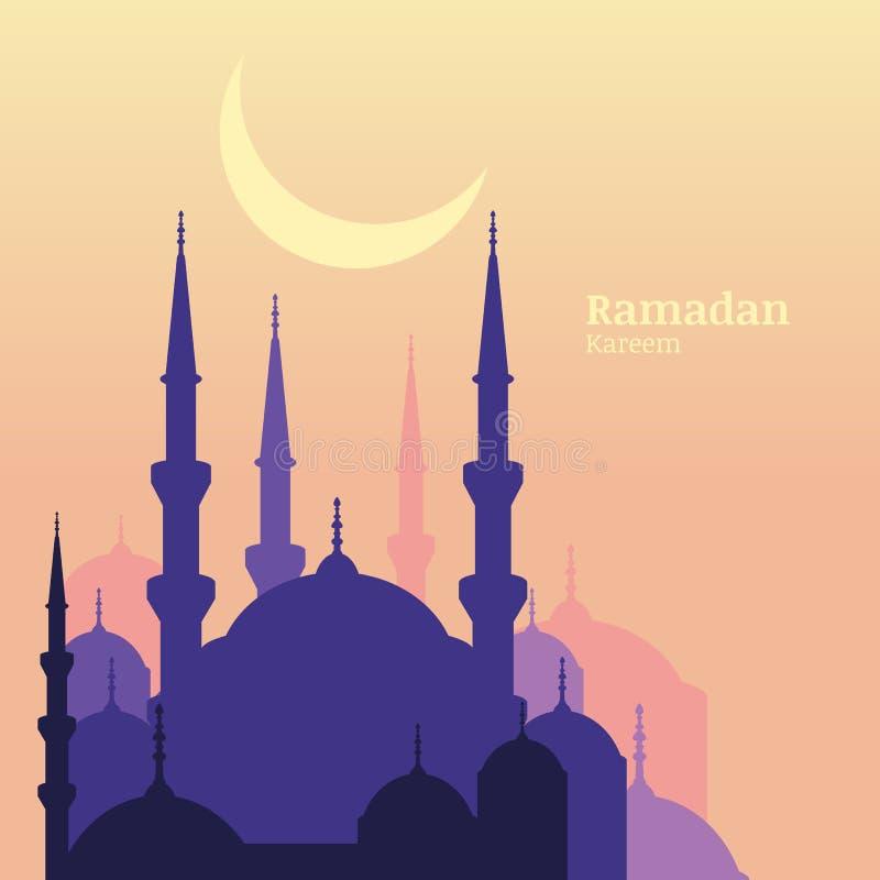 Ramadan Kareem-groetkaart met silhouet van purpere moskee