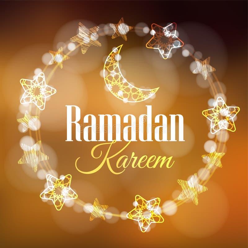 Ramadan Kareem-groetkaart, uitnodiging met kroon van licht met decoratieve manen en sterren wordt gemaakt die Gouden feestelijk royalty-vrije illustratie