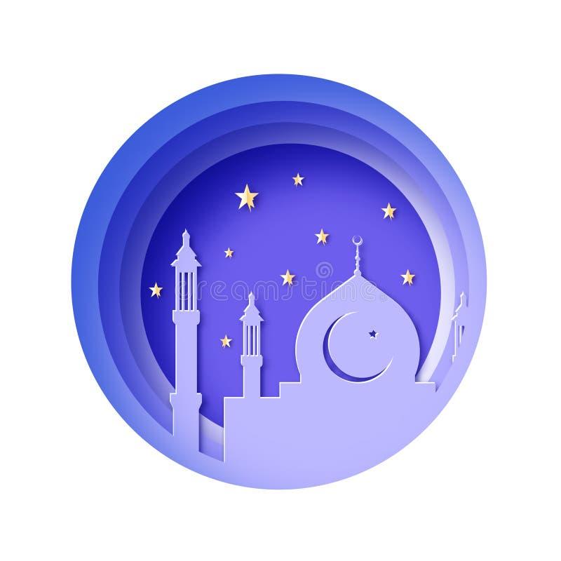 Ramadan Kareem, Grußkarte Eid Mubarak Wunsch für islamisches Festival Moschee Sterne Kreis überlagerter Rahmen, Papierschnitt vektor abbildung