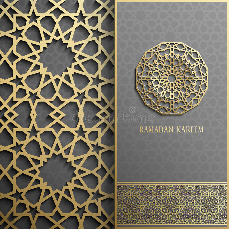 Ramadan Kareem-Grußkarte, islamische Art der Einladung Goldenes Muster des arabischen Kreises Goldverzierung auf Schwarzem, Brosc