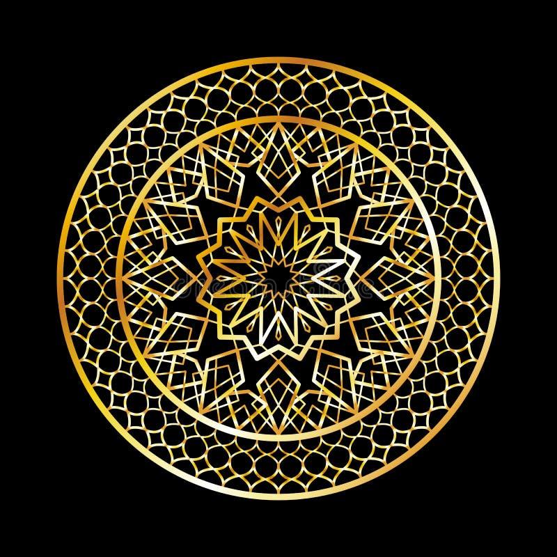 Ramadan Kareem-Grußkarte, islamische Art der Einladung Goldenes Muster des arabischen Kreises Goldverzierung auf schwarzer, islam vektor abbildung