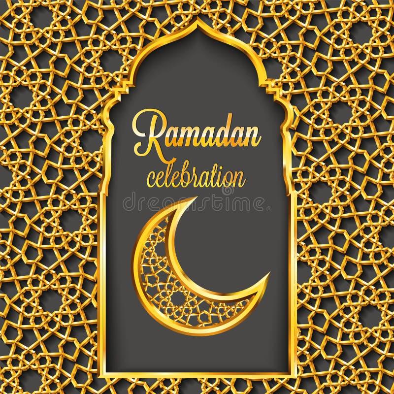Ramadan Kareem-Grußkarte mit traditionellem islamischem Muster, Einladung oder Broschüre in der Ostart lizenzfreie abbildung