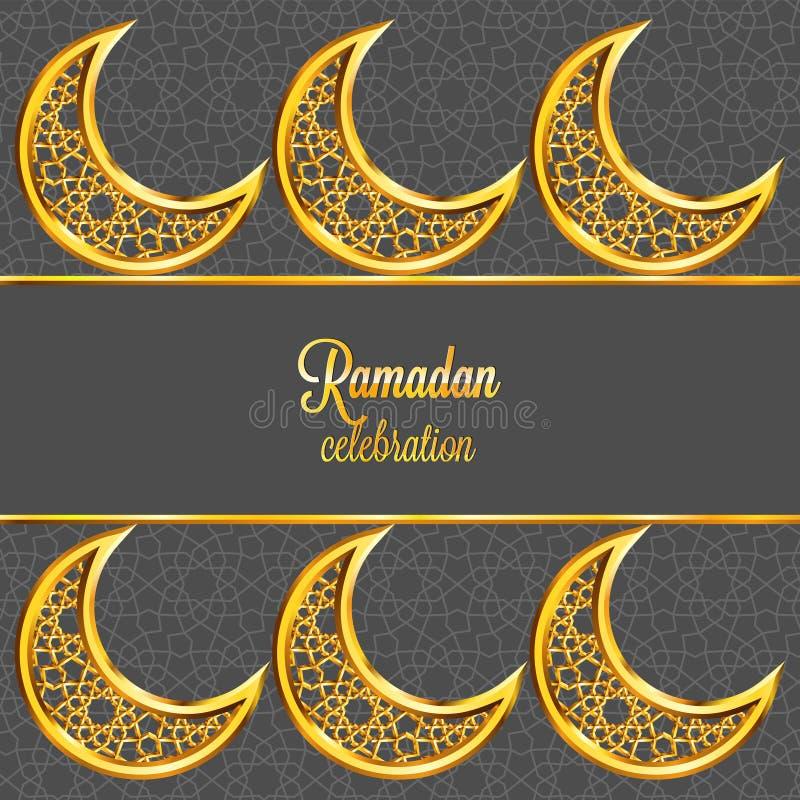 Ramadan Kareem-Grußkarte mit traditionellem islamischem Muster, Einladung oder Broschüre in der Ostart vektor abbildung