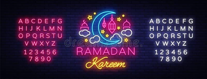 Ramadan Kareem-Grußkarten, Leuchtreklame Entwerfen Sie Schablone, helle Fahne, Nachtneonanzeige Ramadan Kareem - prachtvoll lizenzfreie abbildung