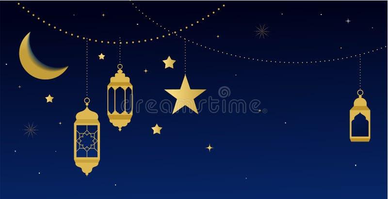 Ramadan-kareem Grußkarte und -fahne Islamische Laterne auf Mond abd Sternhintergrund Auch im corel abgehobenen Betrag lizenzfreie abbildung