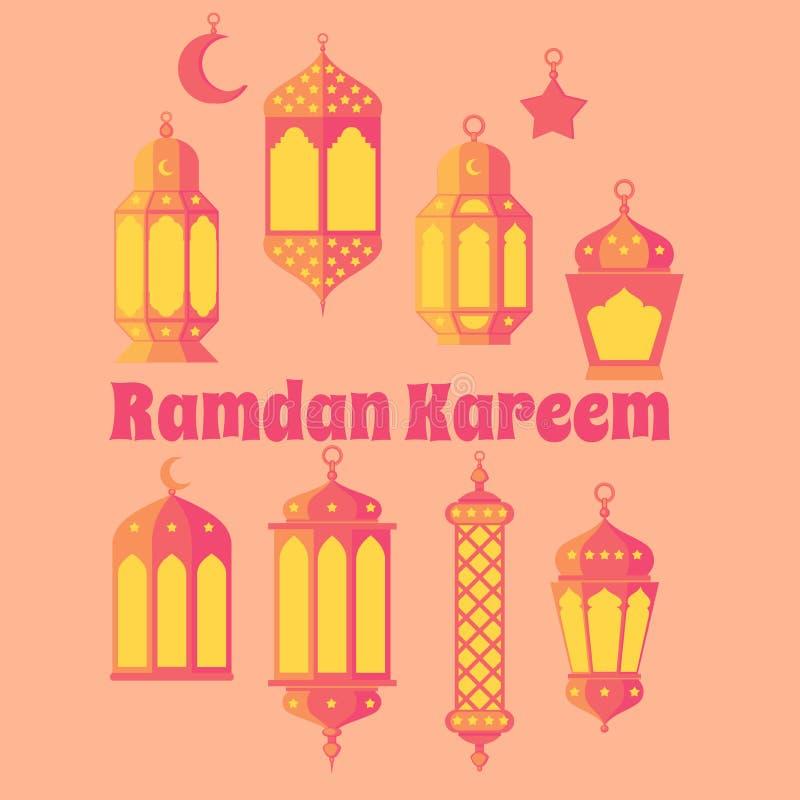 Ramadan Kareem - grupo da cultura noites, fundo do projeto do tema, da religião santamente islâmicos da ramadã latern, do fest de ilustração stock
