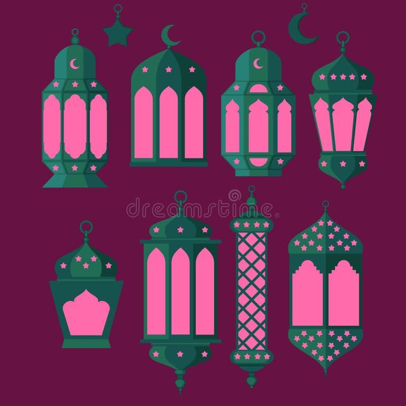 Ramadan Kareem - grupo da cultura noites, fundo do projeto do tema, da religião santamente islâmicos da ramadã latern, do fest de ilustração royalty free