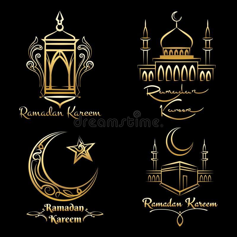 Ramadan Kareem guld- logouppsättning royaltyfri illustrationer