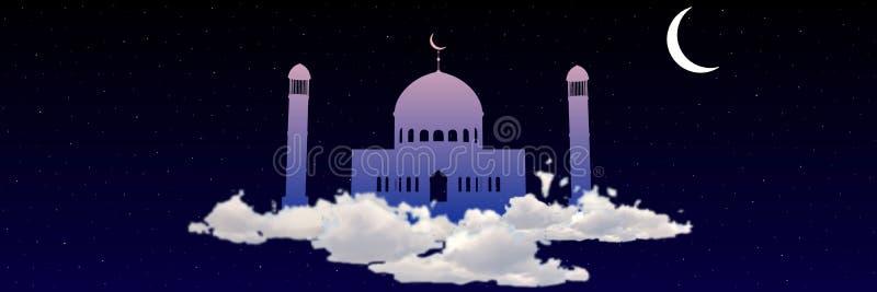 Ramadan Kareem hälsning med moskén på himmel bland stjärnavektor royaltyfri illustrationer