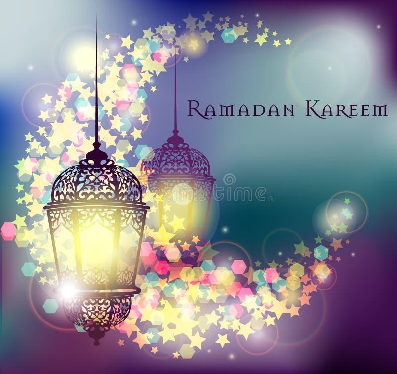 Ramadan Kareem hälsning på suddig bakgrund med den härliga upplysta arabiska lampvektorillustrationen stock illustrationer