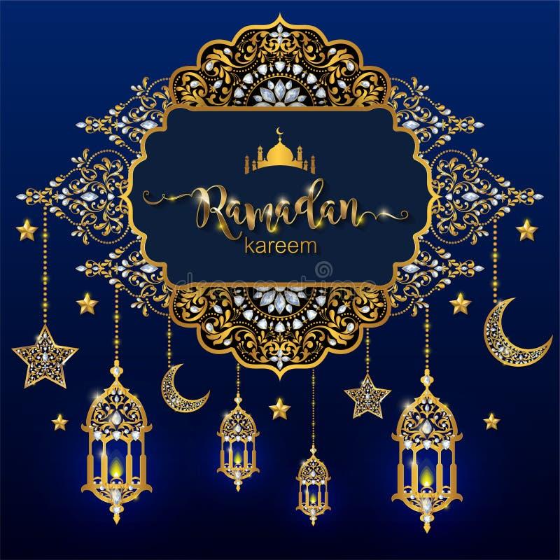 Ramadan Kareem hälsningbakgrund som är islamisk med mönstrad guld royaltyfri illustrationer