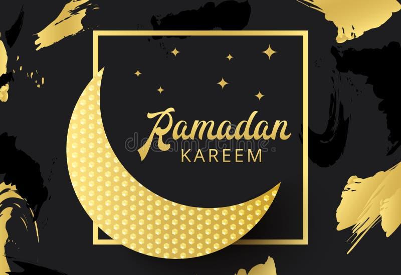 Ramadan Kareem hälsningbaner med arabisk lampor och text islam stock illustrationer