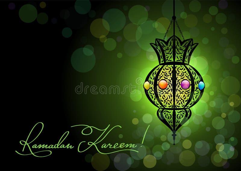 Ramadan Kareem hälsningkort med en kontur av den arabiska lampan och hand dragen kalligrafibokstäver på abstrakt färgrik bakgrund royaltyfri illustrationer