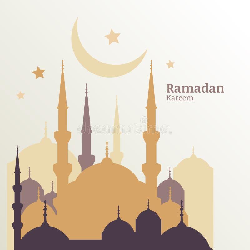 Ramadan Kareem hälsningkort med konturn av guld- moské, M royaltyfri illustrationer