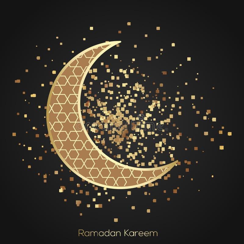 Ramadan Kareem hälsningkort med moskén, månen och arabiskalampor royaltyfri illustrationer