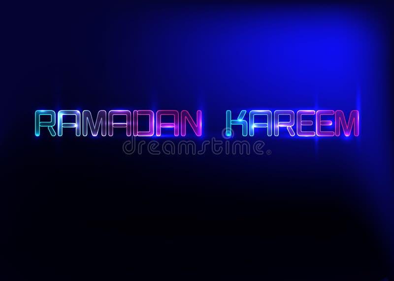 Ramadan Kareem hälsningkort, neontecken Planlägg mallen, det ljusa banret, nattneonannons ramadan kareem stock illustrationer