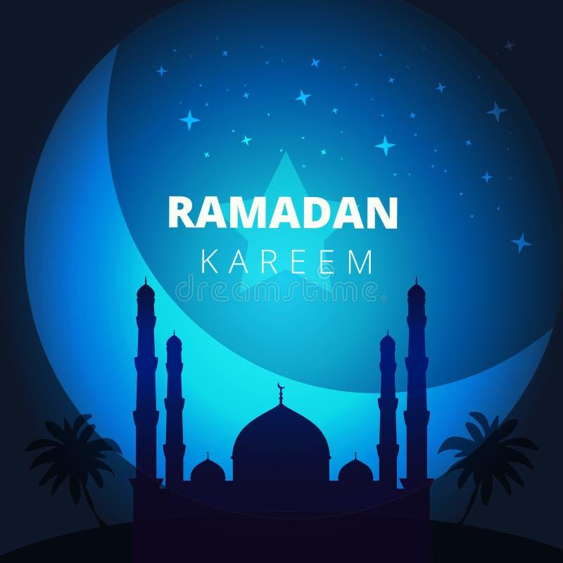 Ramadan Kareem hälsningkort och layo för banerbakgrundsmall royaltyfri illustrationer