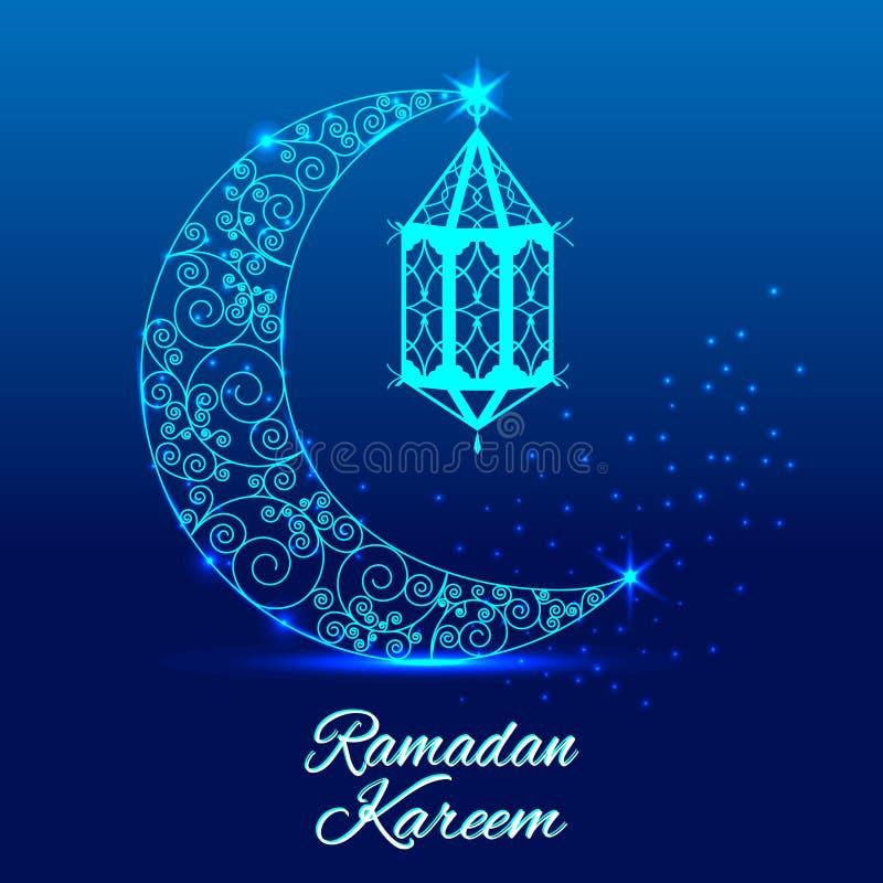 Ramadan Kareem hälsningkort Skinande dekorerad växande måne stock illustrationer