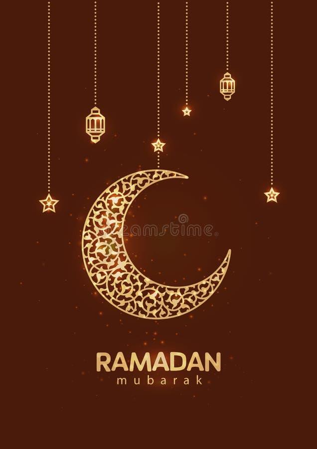 Ramadan Kareem härligt hälsningkort Bakgrund med den växande månen och den traditionella Marocko modellen royaltyfri illustrationer