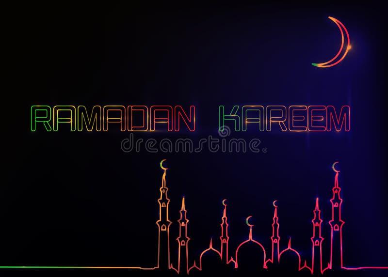 Ramadan Kareem h?lsningkort, stil f?r neontecken Designmall, ljust baner, nattneonannons med den v?xande m?nen av mosk?n royaltyfri illustrationer