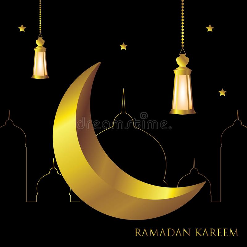 Ramadan Kareem-het malplaatje Arabische kalligrafie van de groetkaart met halve maan en van de lantaarn Islamitisch banner ontwer vector illustratie