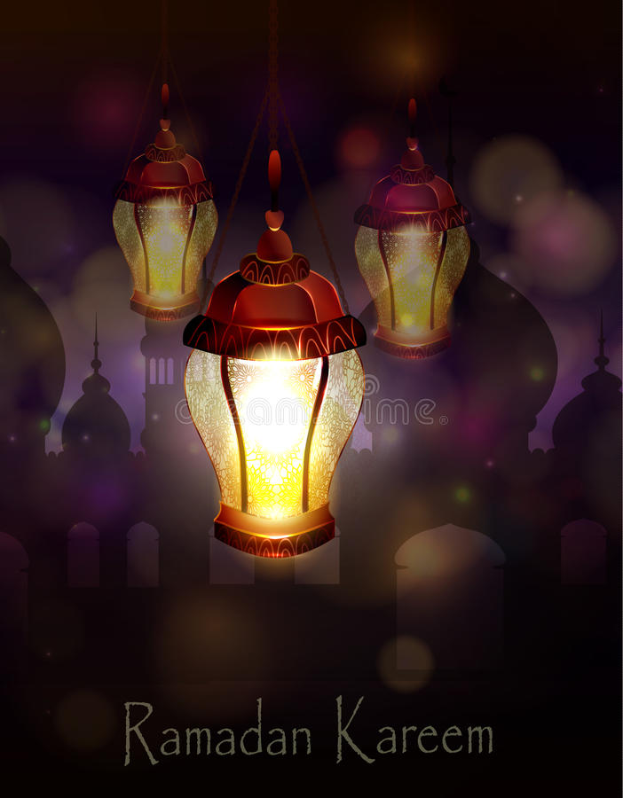 Ramadan Kareem, Hintergrund grüßend vektor abbildung