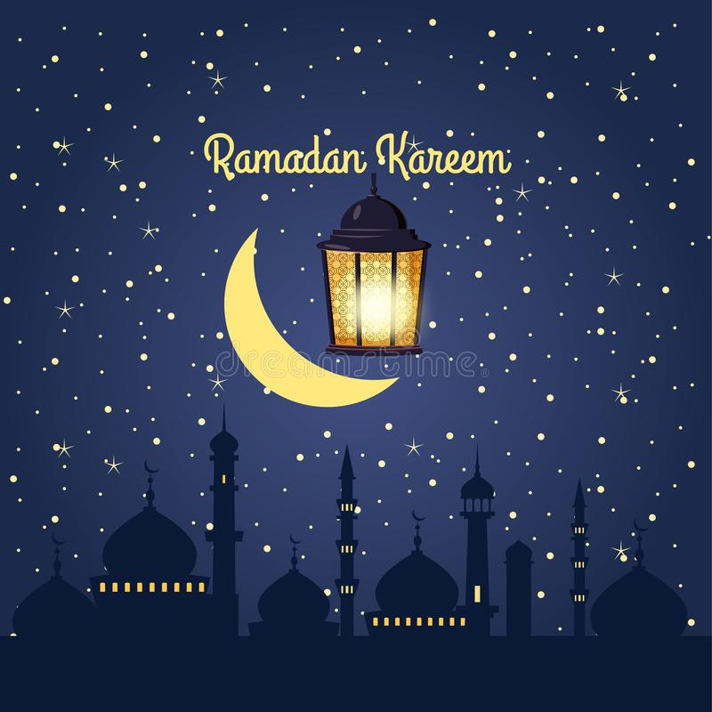 Ramadan-kareem Hintergrund, Illustration mit arabischen Laternen und goldener Halbmond, auf sternenklarem Hintergrund Vektor, stock abbildung