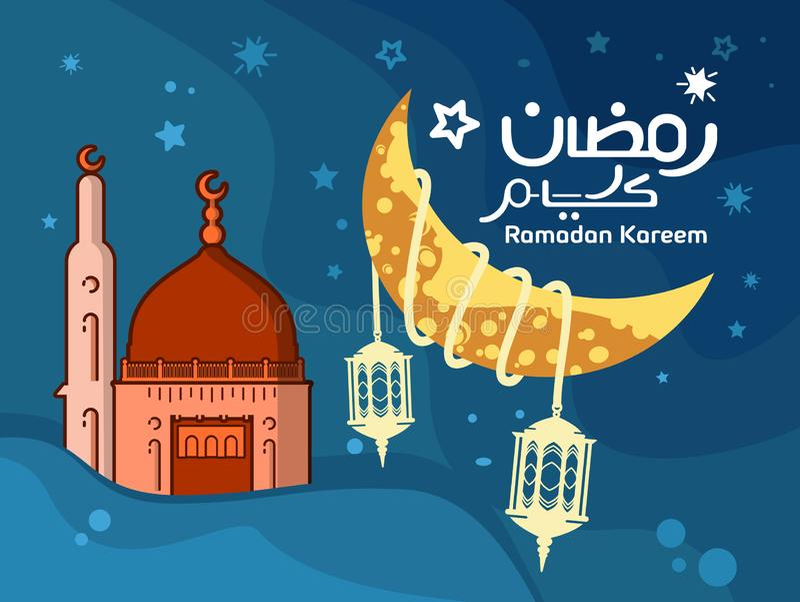 Ramadan Kareem-Hintergrund ist mit der Moschee kreativ und der Mond hat einen flachen Entwurf lizenzfreie abbildung