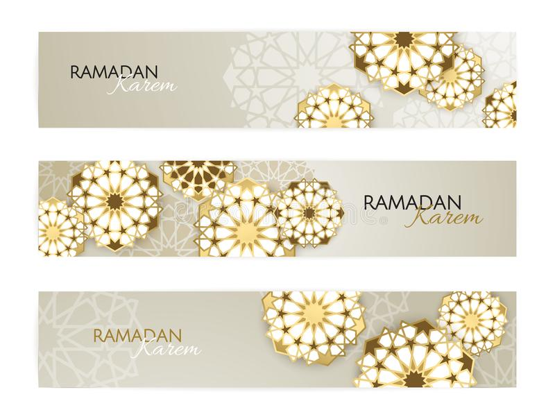 Ramadan Kareem horizontal banners with 3d arabesque stars and flowers. Vector Illustration for greeting card, poster. Ramadan Kareem horizontal banners with 3d royalty free illustration