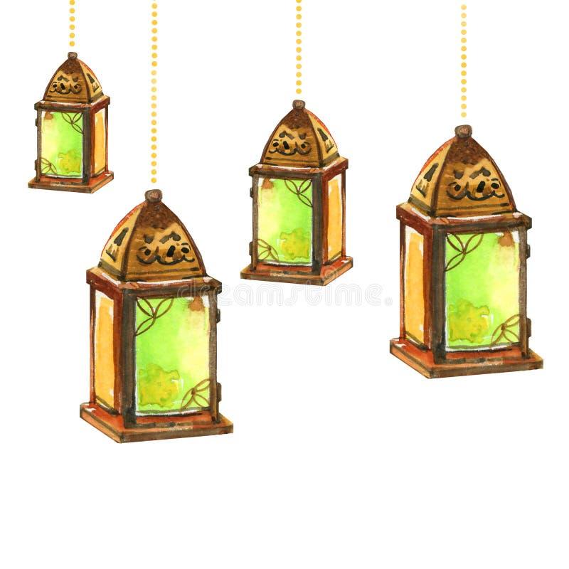 Ramadan Kareem Iftar-de lantaarns van de partijviering, hand getrokken waterverfillustratie stock illustratie