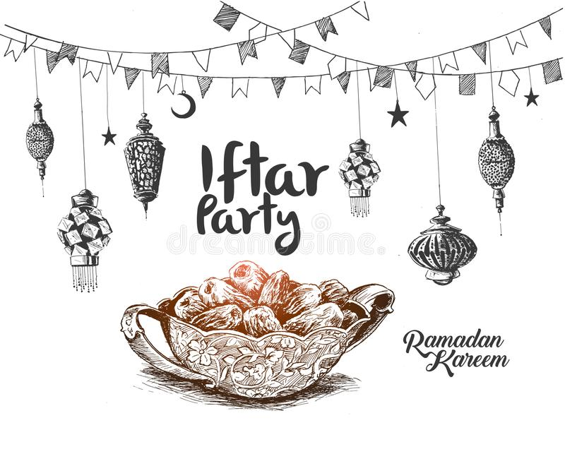 Ramadan Kareem Iftar-partijviering, Hand Getrokken Schetsvector stock illustratie