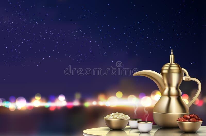 Ramadan Kareem Iftar-partijviering Traditionele theepot met kom, koppen en data op dinerlijst stock illustratie