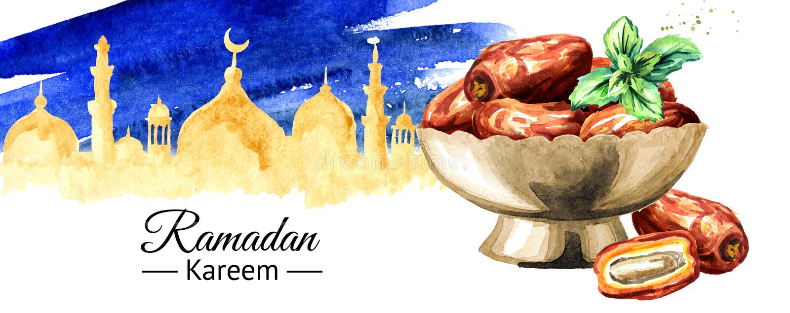 Ramadan Kareem Iftar party celebration background. Dried Date fruits in the bowl. Watercolor hand drawn illustration royalty free illustration