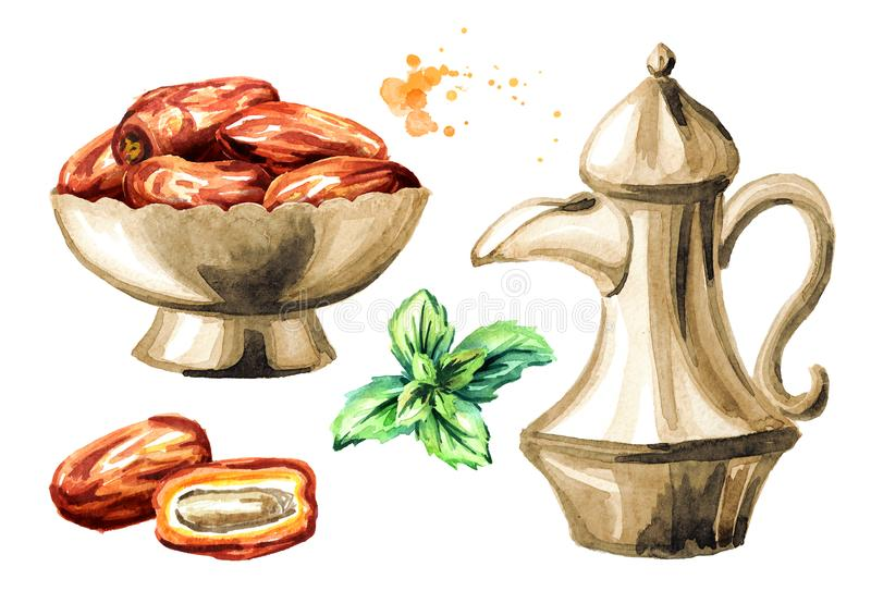 Ramadan Kareem Iftar party celebration set. Traditional teapot with Dried Date fruits in the bowl and mint leaf. Watercolor hand royalty free illustration