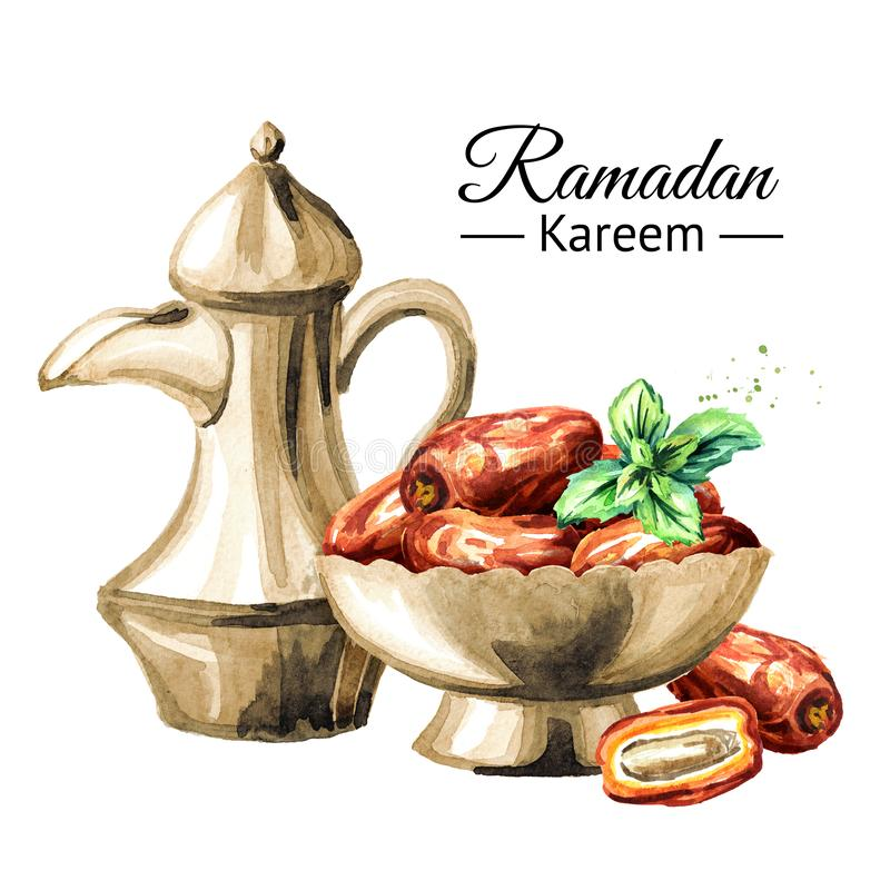 Ramadan Kareem Iftar party celebration. Traditional teapot with Dried Date fruits in the bowl. Watercolor hand drawn illustration vector illustration