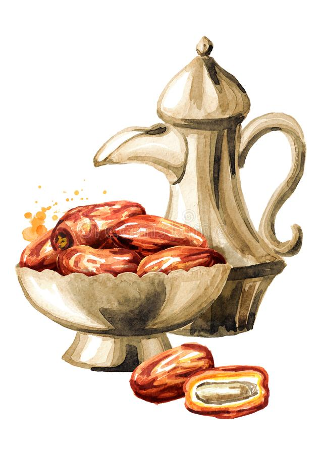 Ramadan Kareem Iftar party celebration. Traditional teapot with Dried Date fruits in the bowl. Watercolor hand drawn illustration royalty free illustration