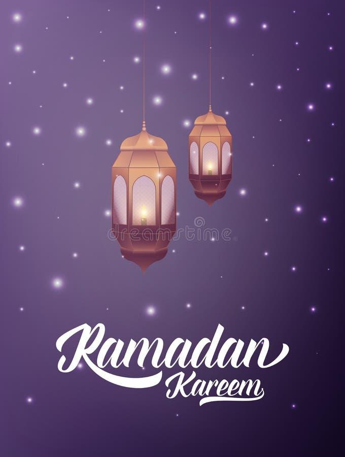 Ramadan Kareem Illustratie met Arabische lantaarntypografie en geheimzinnige lichten
