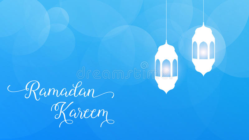 Ramadan Kareem. Illustration with bockeh background and arabic lanterns for islamic holidays stock illustration
