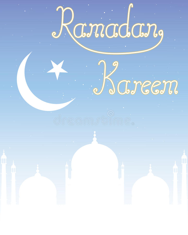 Ramadan kareem. An illustration of a ramadan festival greeting card with mosque and crescent moon symbol on a starry sky background royalty free illustration