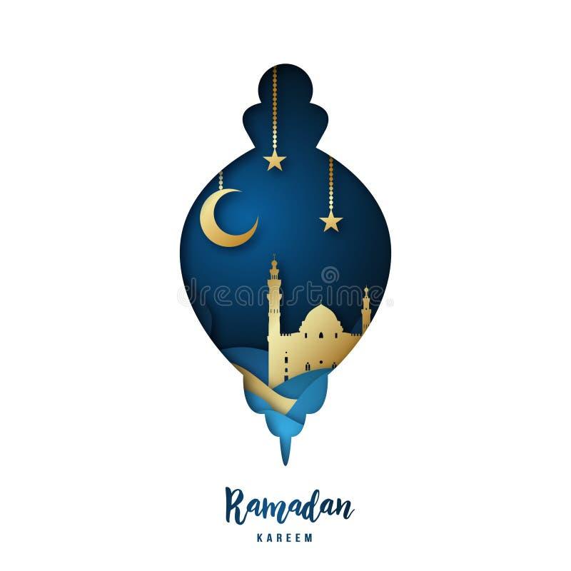 Ramadan Kareem illustration med den arabiska guld- origamimoskén i konturlampa royaltyfri illustrationer