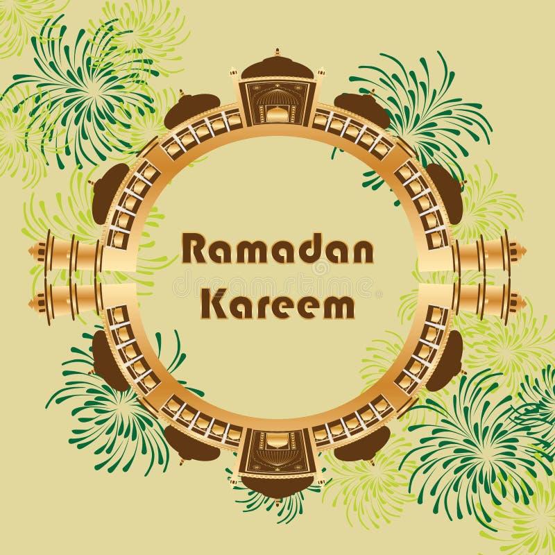 Ramadan Kareem India Delhi extiende la tarjeta del círculo stock de ilustración