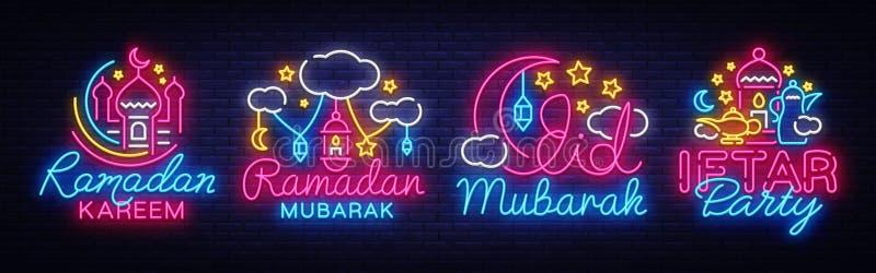 Ramadan Kareem inkasowi neonowi znaki wektorowi Ulotka projekta szablonu pojęcie linie z barwioną półksiężyc i meczetem ilustracji