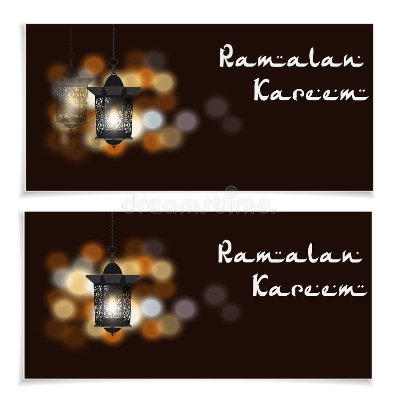 Ramadan Kareem inskrift Reklamblad, vykort eller inbjudningar Ficklampor i orientalisk stil Mot bakgrunden av royaltyfri illustrationer