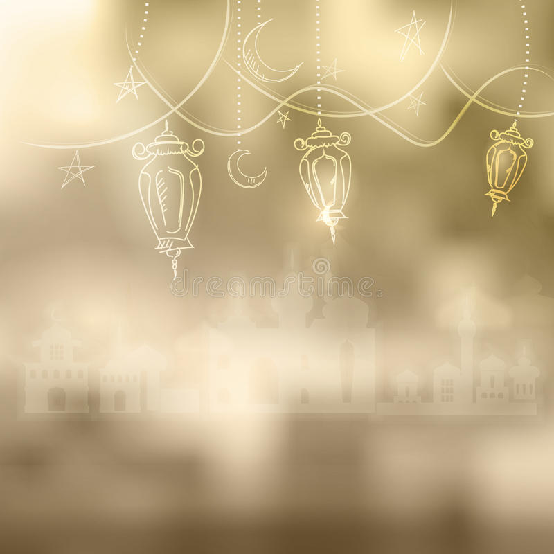 Ramadan Kareem islamic background outline Lamp sketch and silhouette mosque. vector illustration