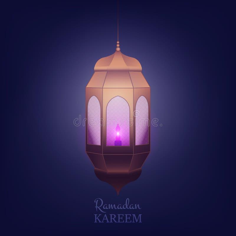 Ramadan Kareem Islamic design Arabisk bakgrund med lyktan och skinande ljus stock illustrationer