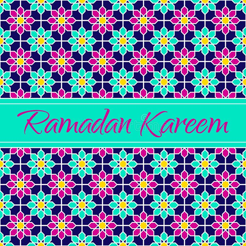 Ramadan Kareem islamic greeting card. arabic holiday design. Floral pattern with text. Vector illustration. Traditional colors. Is vector illustration