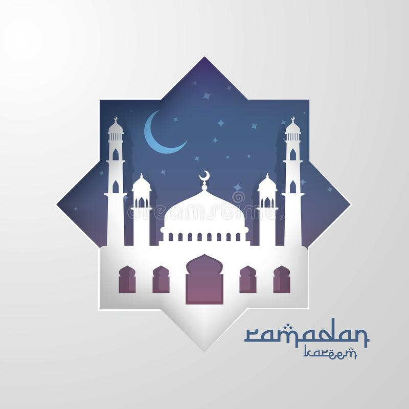 Ramadan Kareem islamic greeting card design with 3D dome mosque element in paper cut style. background Vector illustration.  stock illustration