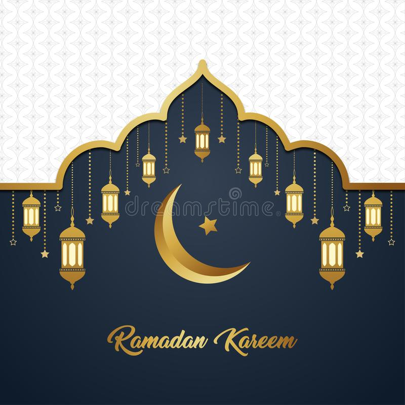 Ramadan Kareem Islamic luxury white gold elegant exclusive background template stock illustration
